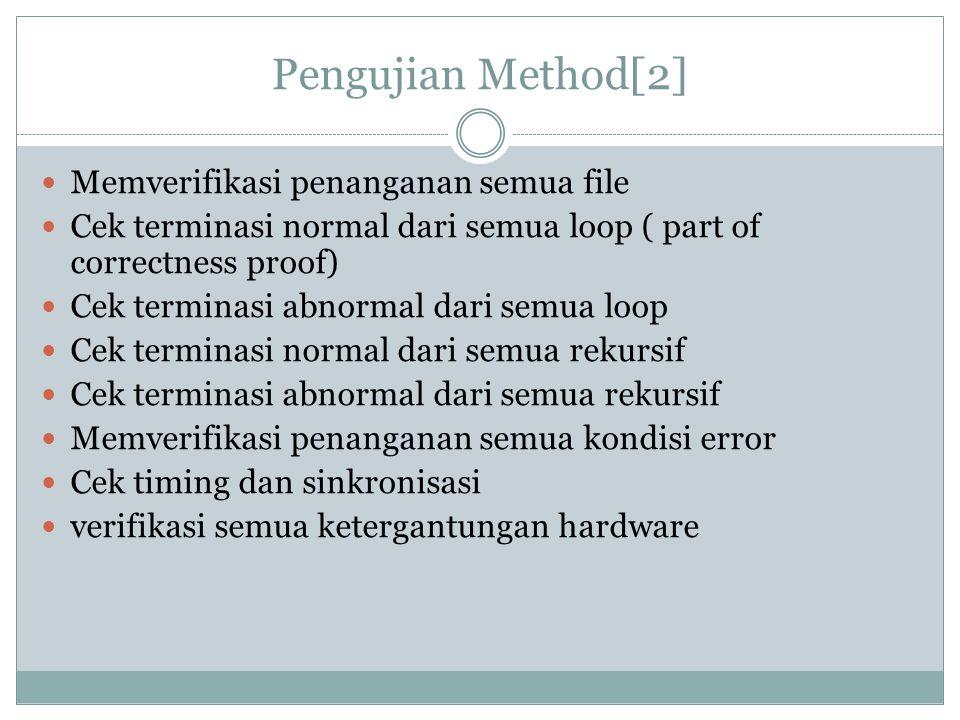 Pengujian Method[2] Memverifikasi penanganan semua file
